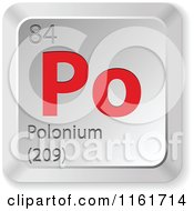 Clipart Of A 3d Red And Silver Polonium Chemical Element Keyboard Button Royalty Free Vector Illustration