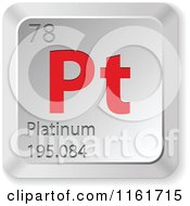Clipart Of A 3d Red And Silver Platinum Chemical Element Keyboard Button Royalty Free Vector Illustration