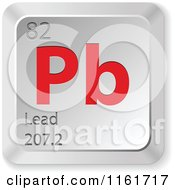 Clipart Of A 3d Red And Silver Lead Chemical Element Keyboard Button Royalty Free Vector Illustration