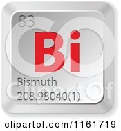 Clipart Of A 3d Red And Silver Bismuth Chemical Element Keyboard Button Royalty Free Vector Illustration