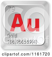 Clipart Of A 3d Red And Silver Gold Chemical Element Keyboard Button Royalty Free Vector Illustration