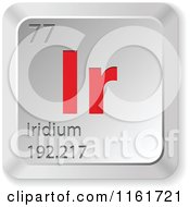 Clipart Of A 3d Red And Silver Iridium Chemical Element Keyboard Button Royalty Free Vector Illustration