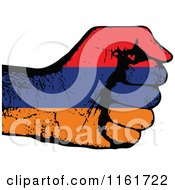 Clipart Of A Fisted Amernia Flag Hand Royalty Free Vector Illustration by Andrei Marincas