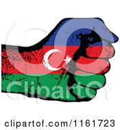 Clipart Of A Fisted Azerbaijan Flag Hand Royalty Free Vector Illustration