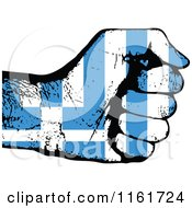 Clipart Of A Fisted Greece Flag Hand Royalty Free Vector Illustration