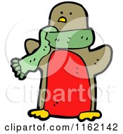Cartoon Of A Robin Wearing A Green Scarf Royalty Free Vector Illustration