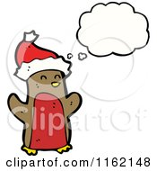 Cartoon Of A Thinking Christmas Robin Royalty Free Vector Illustration