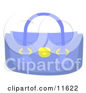 Small Blue Purse With Golden Rings And Lock Clipart Picture by AtStockIllustration