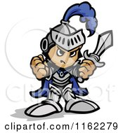 Cartoon Of A Tough Knight Holding Up Fists And A Sword Royalty Free Vector Clipart by Chromaco