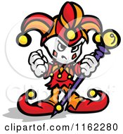 Cartoon Of A Tough Little Jester Holding A Fist And Staff Royalty Free Vector Clipart