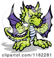 Cartoon Of A Tough Green And Purple Dragon Holding Up Fists Royalty Free Vector Clipart