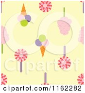 Clipart Of A Seamless Loli Pop Ice Cream And Cotton Candy Pattern On Yellow Royalty Free Vector Illustration by Cherie Reve