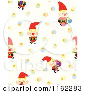 Clipart Of A Seamless Christmas Elf And Bauble Pattern Royalty Free Vector Illustration