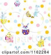 Clipart Of A Seamless Easter Egg And Bunny Pattern With Dots Royalty Free Vector Illustration