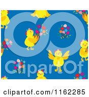 Clipart Of A Seamless Chick And Flower Pattern On Blue Royalty Free Vector Illustration by Cherie Reve