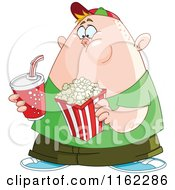 Cartoon Of A Chubby Boy With Movie Popcorn And Soda Royalty Free Vector Clipart