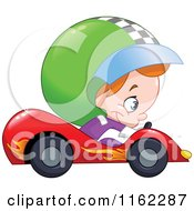 Cartoon Of A Boy Driving A Race Car Royalty Free Vector Clipart