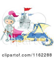 Cartoon Of A Fairy Tale Knight Standing Over A Slain Dragon Royalty Free Vector Clipart by Pushkin