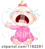 Cartoon Of A Crying Blond Caucasian Baby Girl Royalty Free Vector Clipart