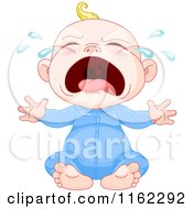 Cartoon Of A Crying Blond Caucasian Baby Boy Royalty Free Vector Clipart