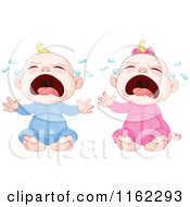 Cartoon Of Crying Blond Caucasian Babies Royalty Free Vector Clipart by Pushkin