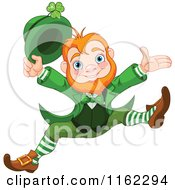 Cartoon Of A Cheerful Leprechaun Holding Up His Hat And Jumping Royalty Free Vector Clipart by Pushkin
