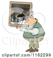 Cartoon Of A Caucasian Man Hanging Up A Snowy Mountain Picture Royalty Free Clipart