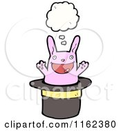 Cartoon Of A Thinking Pink Rabbit In A Magic Hat Royalty Free Vector Illustration