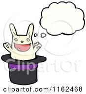 Cartoon Of A Thinking White Rabbit In A Hat Royalty Free Vector Illustration