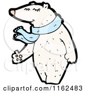 Cartoon Of A Polar Bear Wearing A Blue Scarf Royalty Free Vector Illustration by lineartestpilot