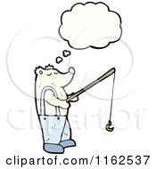 Cartoon Of A Thinking Fishing Polar Bear Royalty Free Vector Illustration by lineartestpilot