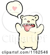 Cartoon Of A Polar Bear Talking About Love Royalty Free Vector Illustration