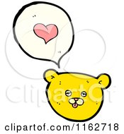 Cartoon Of A Yellow Bear Talking About Love Royalty Free Vector Illustration