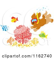 Cartoon Of A Puppy Snorkeling By Fish On A Reef Royalty Free Vector Clipart