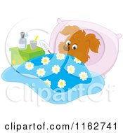 Cartoon Of A Sick Puppy Resting In Bed Royalty Free Vector Clipart