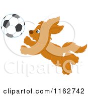 Cartoon Of A Puppy Chasing A Soccer Ball Royalty Free Vector Clipart by Alex Bannykh