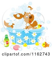 Cartoon Of A Happy Puppy Playing In A Bath Royalty Free Vector Clipart