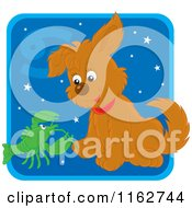 Cartoon Of A Cancer Horoscope Zodiac Astrology Puppy Royalty Free Vector Clipart