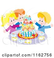 Cartoon Of Happy Caucasian Children Celebrating Around A Cake Royalty Free Vector Clipart