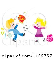 Cartoon Of Blond Caucasian Students Playing Soccer And Making A Mess Royalty Free Vector Clipart