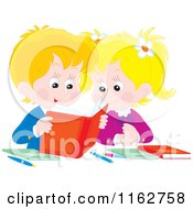 Cartoon Of Blond Caucasian Students Reading A Book Royalty Free Vector Clipart by Alex Bannykh