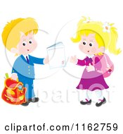 Cartoon Of Blond Caucasian Students Exchanging A Work Book Royalty Free Vector Clipart