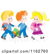 Cartoon Of Caucasian Students Walking To School Royalty Free Vector Clipart