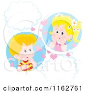 Cartoon Of Caucasian Valentine Children With Hearts And Thought Balloons Royalty Free Vector Clipart by Alex Bannykh