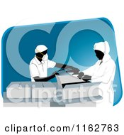 Clipart Of Packaging Workers Wearing Masks Over A Blue Slanted Rectangle Royalty Free Vector Illustration by David Rey