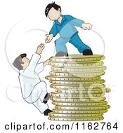 Cartoon Of A Man On Top Of A Pile Of Coins Reaching Down To Help A Climber Royalty Free Vector Clipart