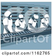 Clipart Of Production Line Workers In Blue Tones Royalty Free Vector Illustration by David Rey