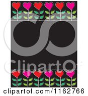 Red And Pink Heart Flowers On A Black Board With Copyspace