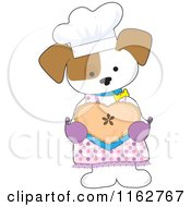 Cartoon Of A Baker Puppy Holding A Valentine Heart Shaped Pie Royalty Free Vector Clipart by Maria Bell