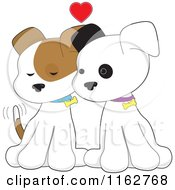 Cartoon Of A Puppy Couple Cuddling Under A Red Heart Royalty Free Vector Clipart by Maria Bell